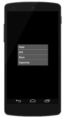 The Phaser app's menu, offering a choice of Heat, Kill, Stun, and Vaporize