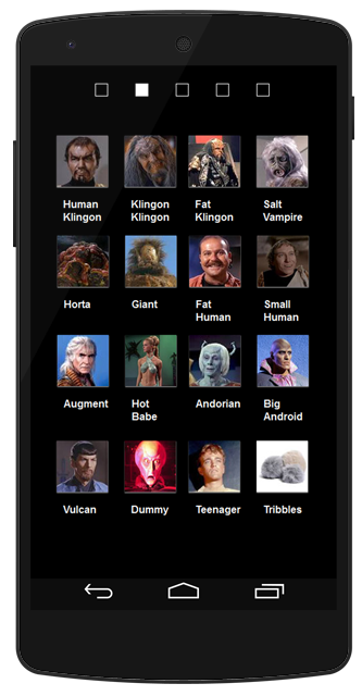 A screen showing pictures of all the different aliens I can choose to shoot at.